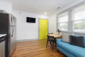 Apartment door.