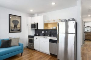 KItchenette with stainless steel appliances