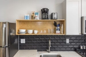 Tile backsplash and quarts counters