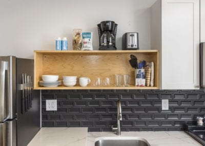 Tile backsplash and quarts counters